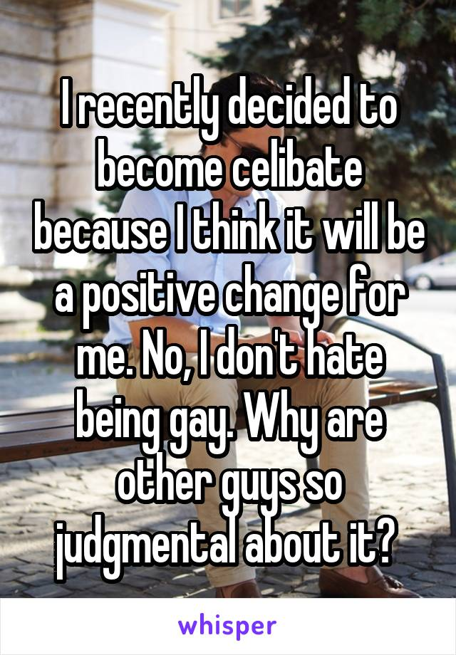 I recently decided to become celibate because I think it will be a positive change for me. No, I don't hate being gay. Why are other guys so judgmental about it?