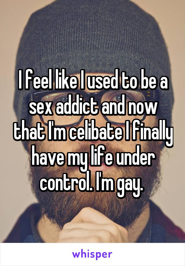 I feel like I used to be a sex addict and now that I'm celibate I finally have my life under control. I'm gay.