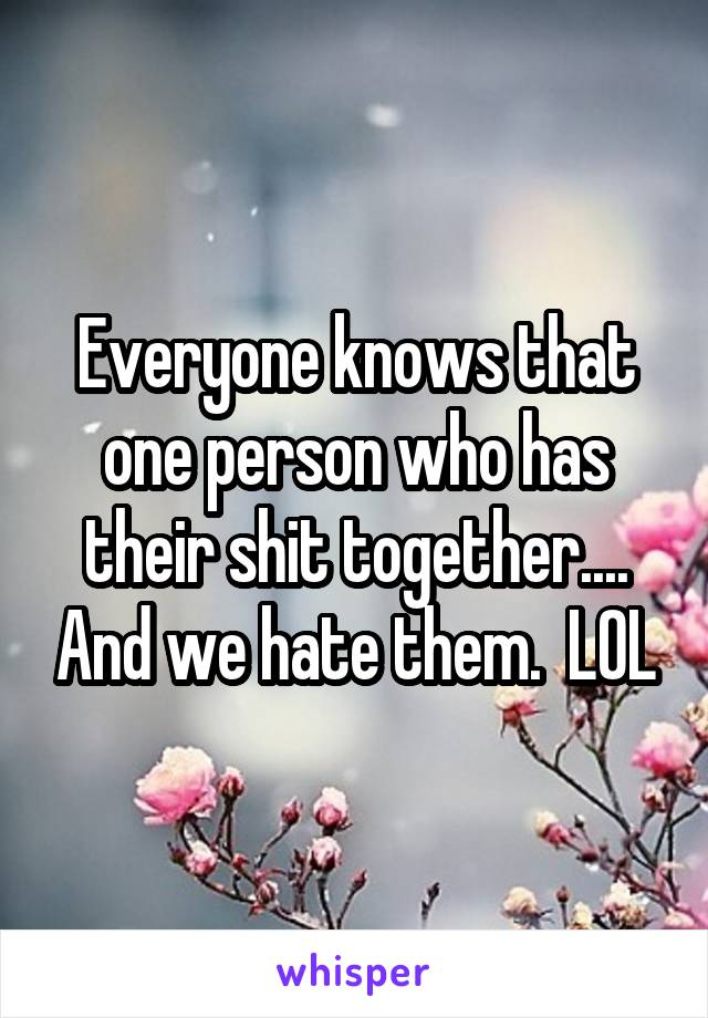 Everyone knows that one person who has their shit together.... And we hate them.  LOL
