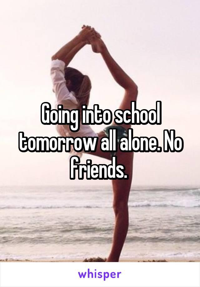 Going into school tomorrow all alone. No friends.