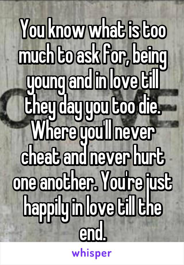 You know what is too much to ask for, being young and in love till they day you too die. Where you'll never cheat and never hurt one another. You're just happily in love till the end.
