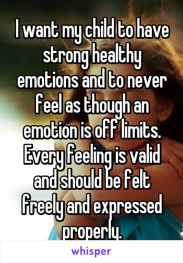 I want my child to have strong healthy emotions and to never feel as though an emotion is off limits. Every feeling is valid and should be felt freely and expressed properly.