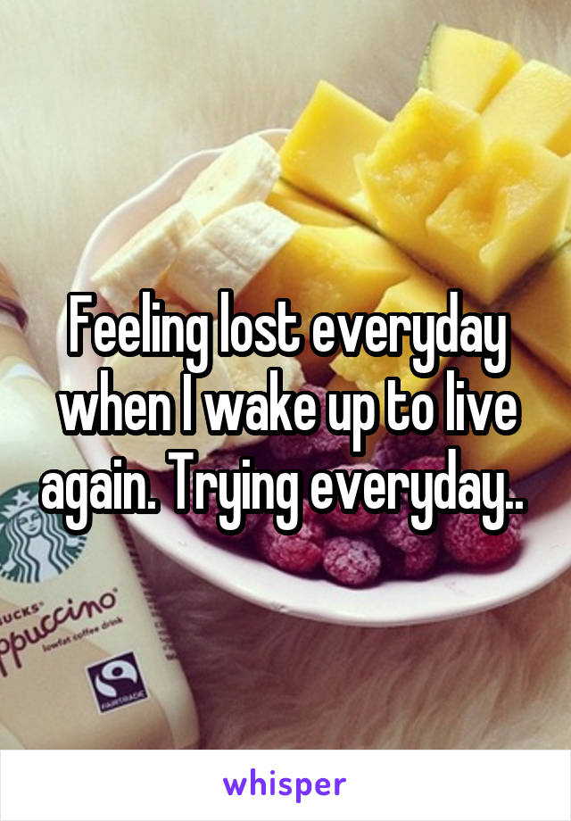 Feeling lost everyday when I wake up to live again. Trying everyday..