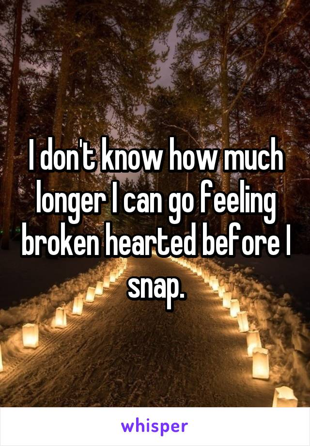 I don't know how much longer I can go feeling broken hearted before I snap.