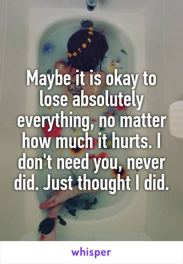 Maybe it is okay to lose absolutely everything, no matter how much it hurts. I don't need you, never did. Just thought I did.