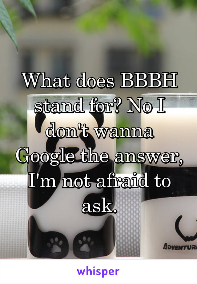 What does BBBH stand for? No I don't wanna Google the answer, I'm not afraid to ask.