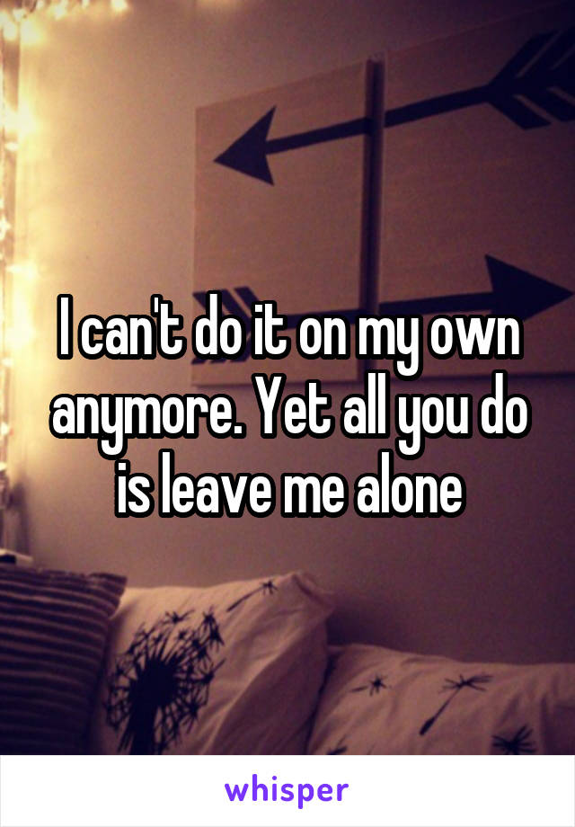 I can't do it on my own anymore. Yet all you do is leave me alone