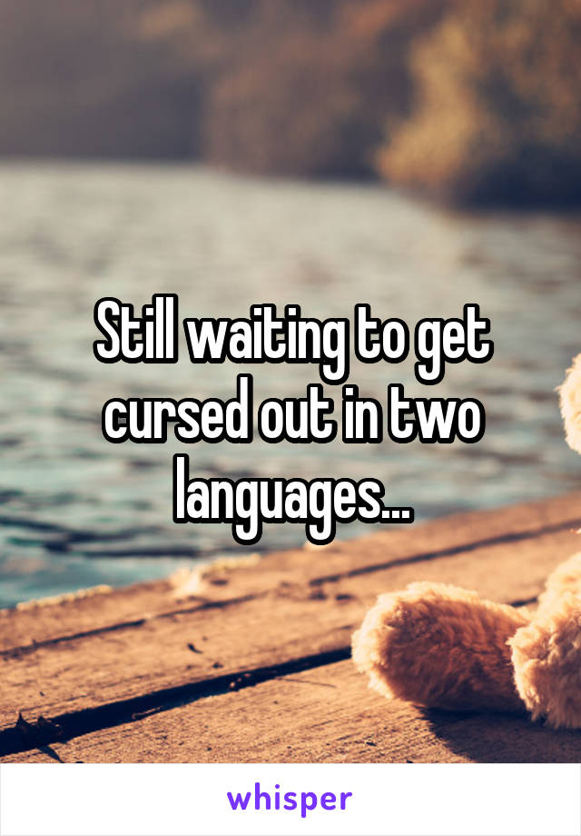 Still waiting to get cursed out in two languages...