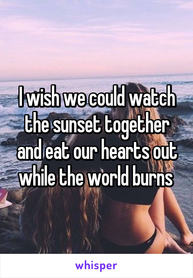 I wish we could watch the sunset together and eat our hearts out while the world burns