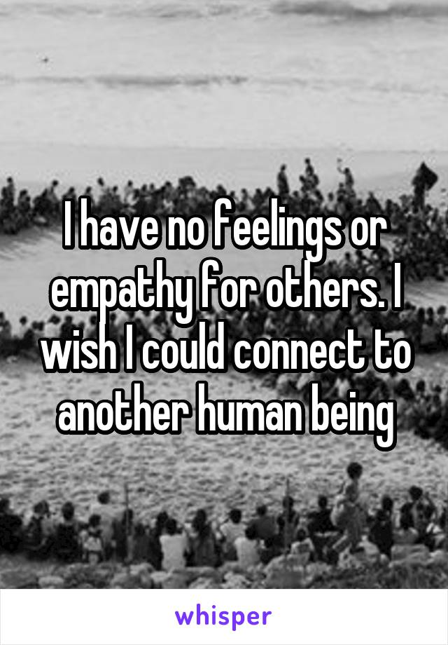 I have no feelings or empathy for others. I wish I could connect to another human being