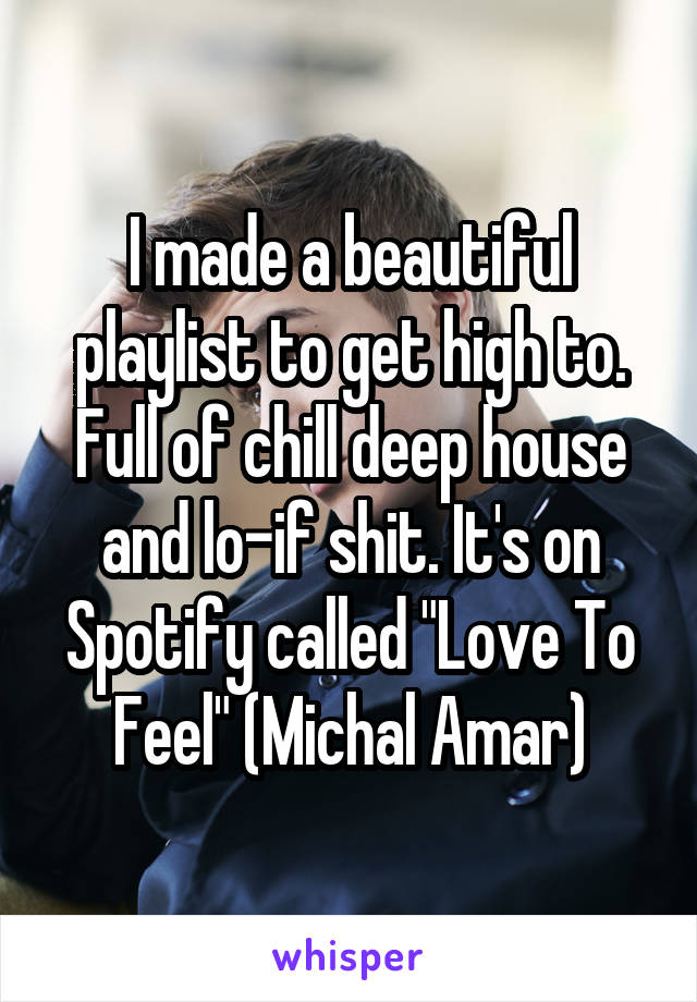 """I made a beautiful playlist to get high to. Full of chill deep house and lo-if shit. It's on Spotify called """"Love To Feel"""" (Michal Amar)"""