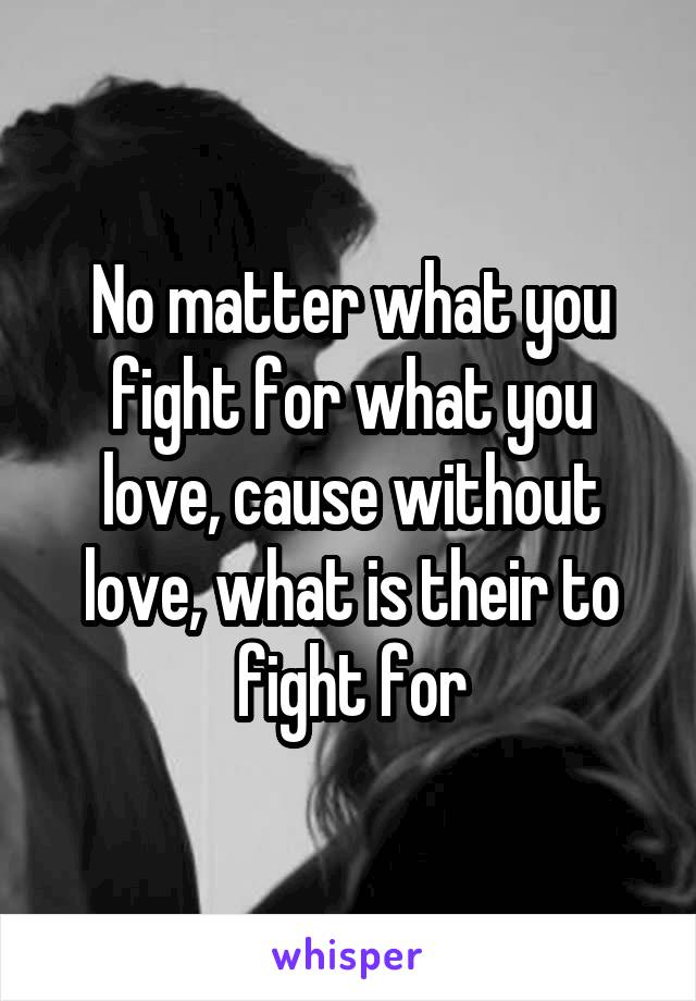 No matter what you fight for what you love, cause without love, what is their to fight for