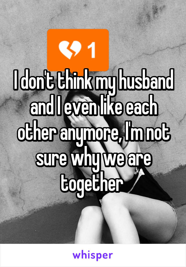 I don't think my husband and I even like each other anymore, I'm not sure why we are together