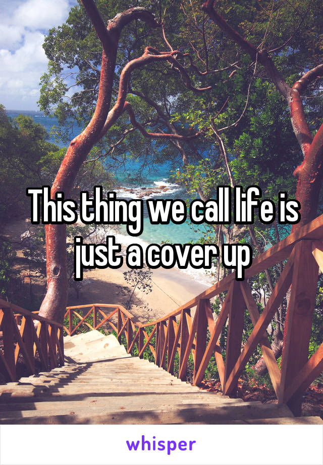 This thing we call life is just a cover up