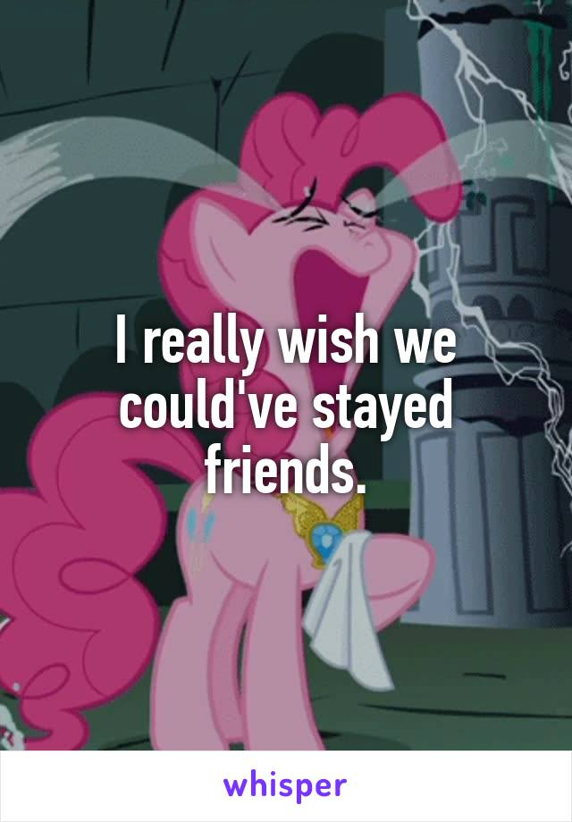 I really wish we could've stayed friends.