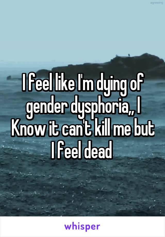 I feel like I'm dying of gender dysphoria,, I Know it can't kill me but I feel dead