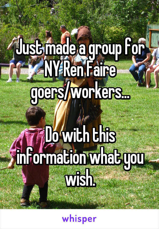 Just made a group for NY Ren Faire goers/workers...  Do with this information what you wish.