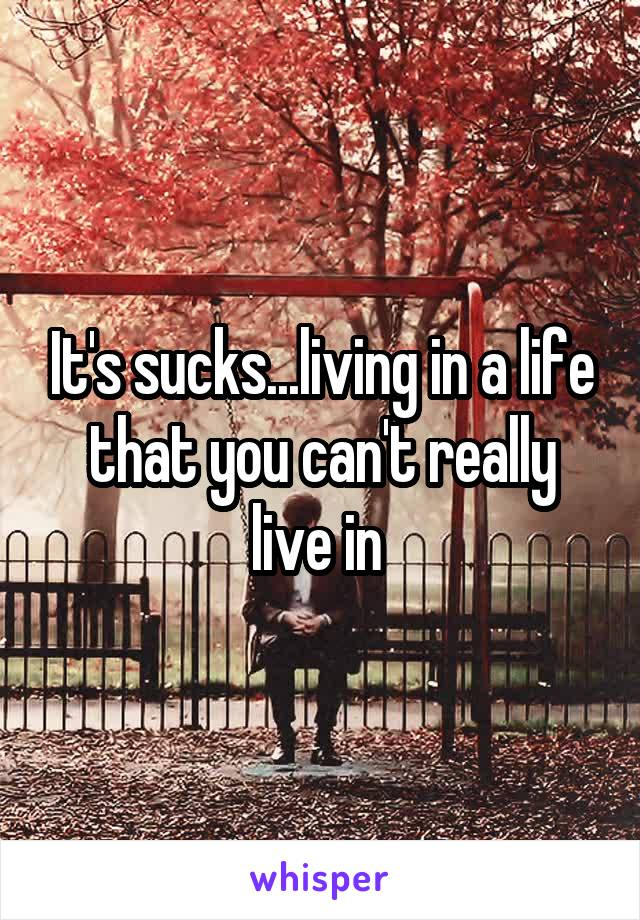 It's sucks...living in a life that you can't really live in