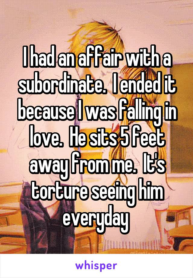 I had an affair with a subordinate.  I ended it because I was falling in love.  He sits 5 feet away from me.  It's torture seeing him everyday