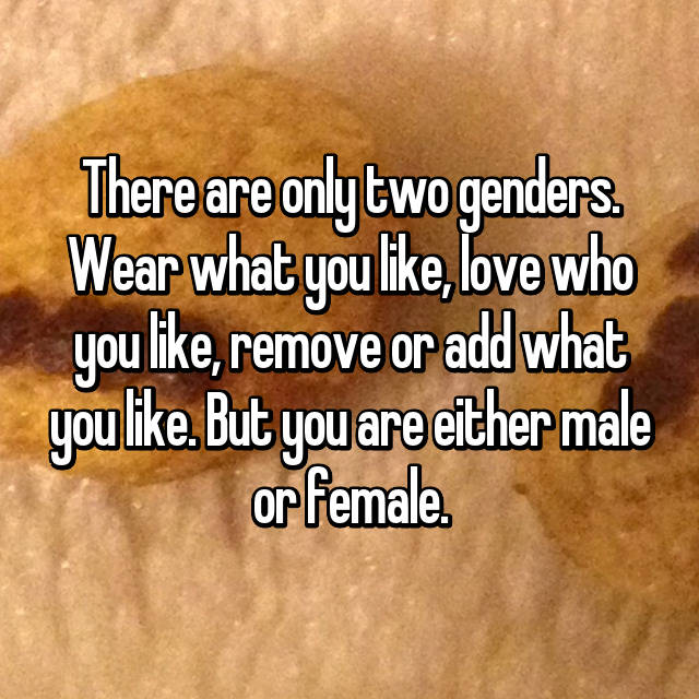 There are only two genders. Wear what you like, love who you like, remove or add what you like. But you are either male or female.