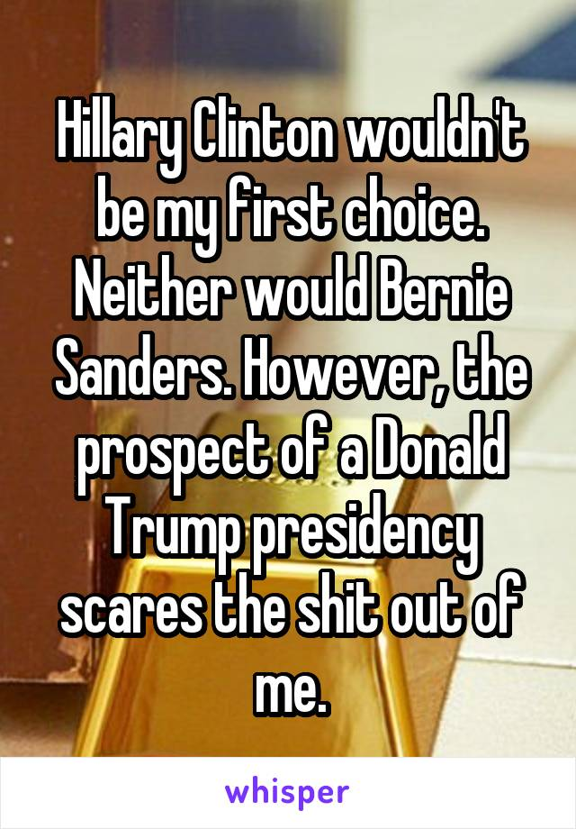 Hillary Clinton wouldn't be my first choice. Neither would Bernie Sanders. However, the prospect of a Donald Trump presidency scares the shit out of me.