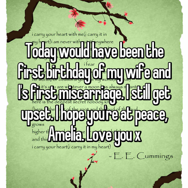 Today would have been the first birthday of my wife and I's first miscarriage. I still get upset. I hope you're at peace, Amelia. Love you x