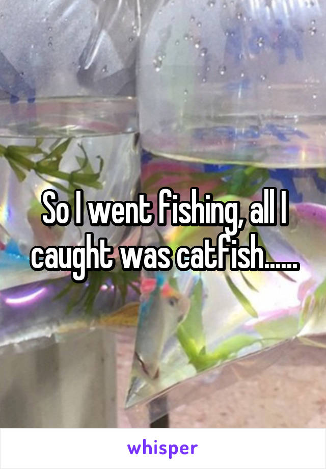 So I went fishing, all I caught was catfish......
