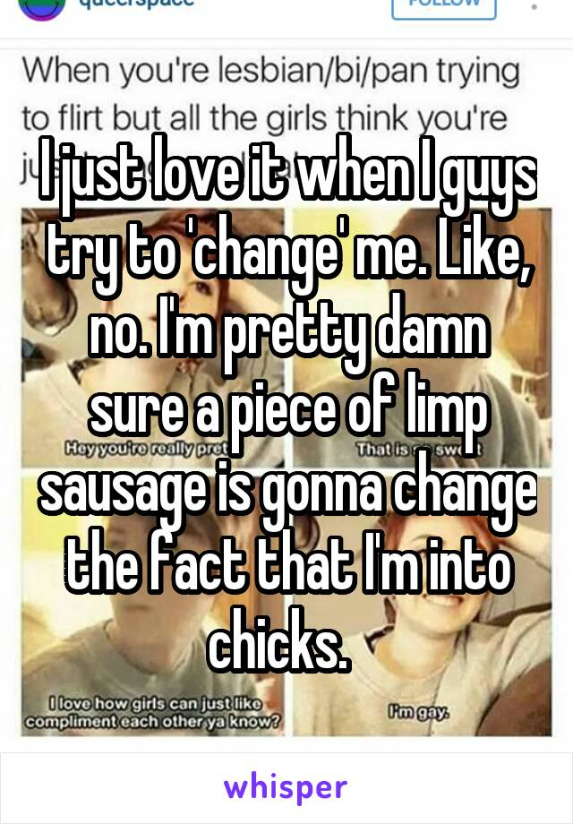 I just love it when I guys try to 'change' me. Like, no. I'm pretty damn sure a piece of limp sausage is gonna change the fact that I'm into chicks.