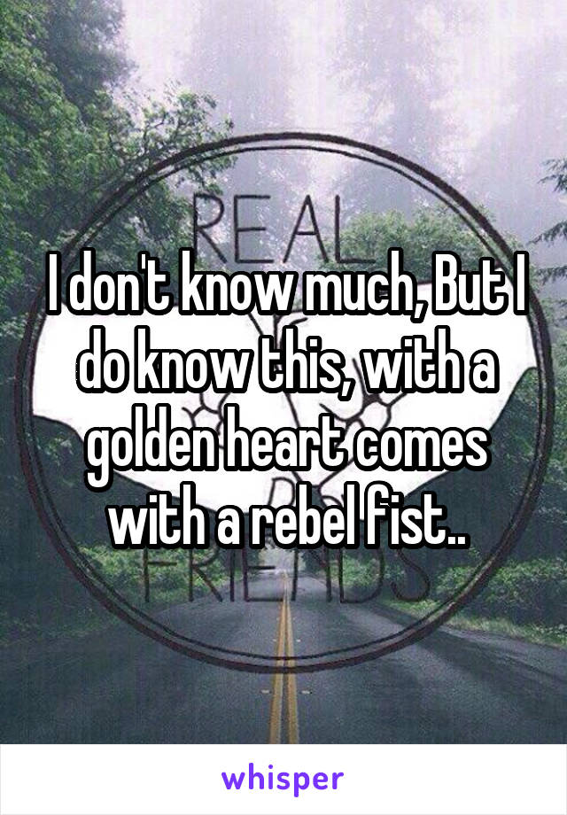 I don't know much, But I do know this, with a golden heart comes with a rebel fist..