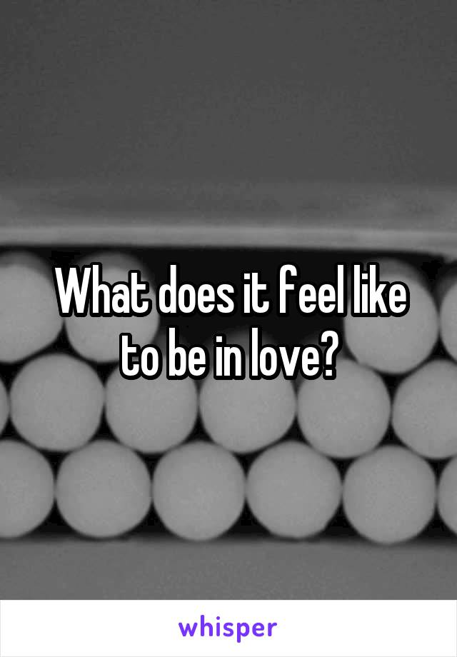 What does it feel like to be in love?
