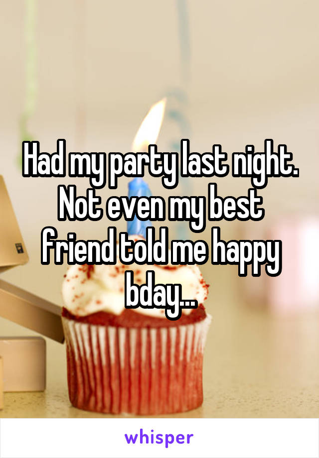 Had my party last night. Not even my best friend told me happy bday...