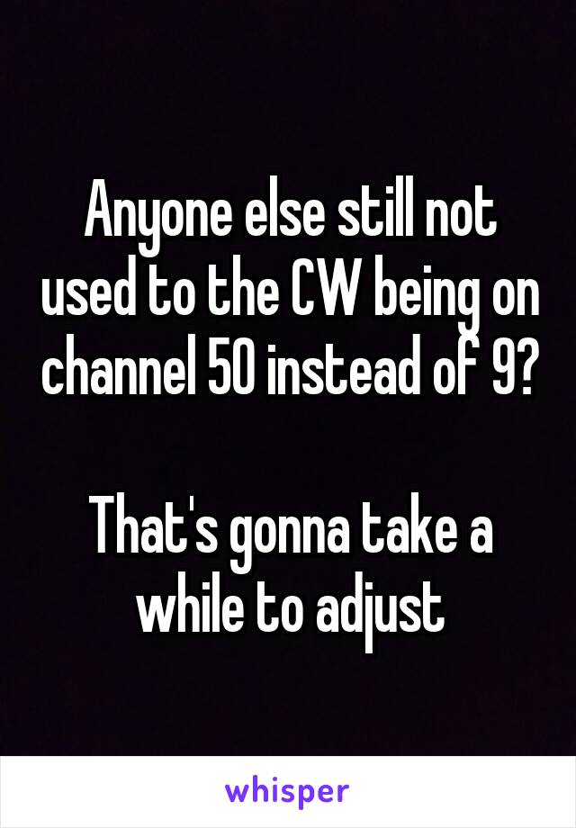 Anyone else still not used to the CW being on channel 50 instead of 9?  That's gonna take a while to adjust