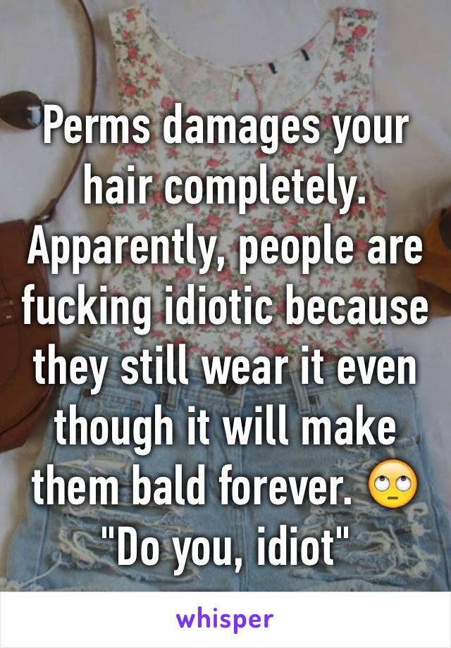 """Perms damages your hair completely. Apparently, people are fucking idiotic because they still wear it even though it will make them bald forever. 🙄 """"Do you, idiot"""""""