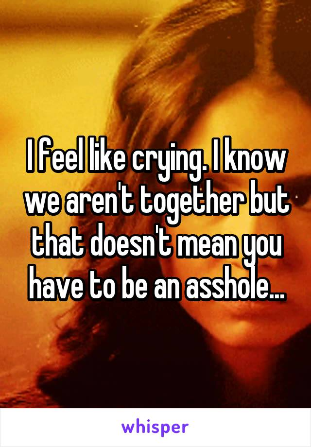 I feel like crying. I know we aren't together but that doesn't mean you have to be an asshole...