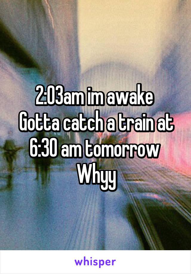 2:03am im awake  Gotta catch a train at 6:30 am tomorrow  Whyy