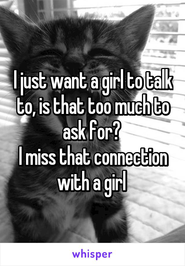 I just want a girl to talk to, is that too much to ask for?  I miss that connection with a girl