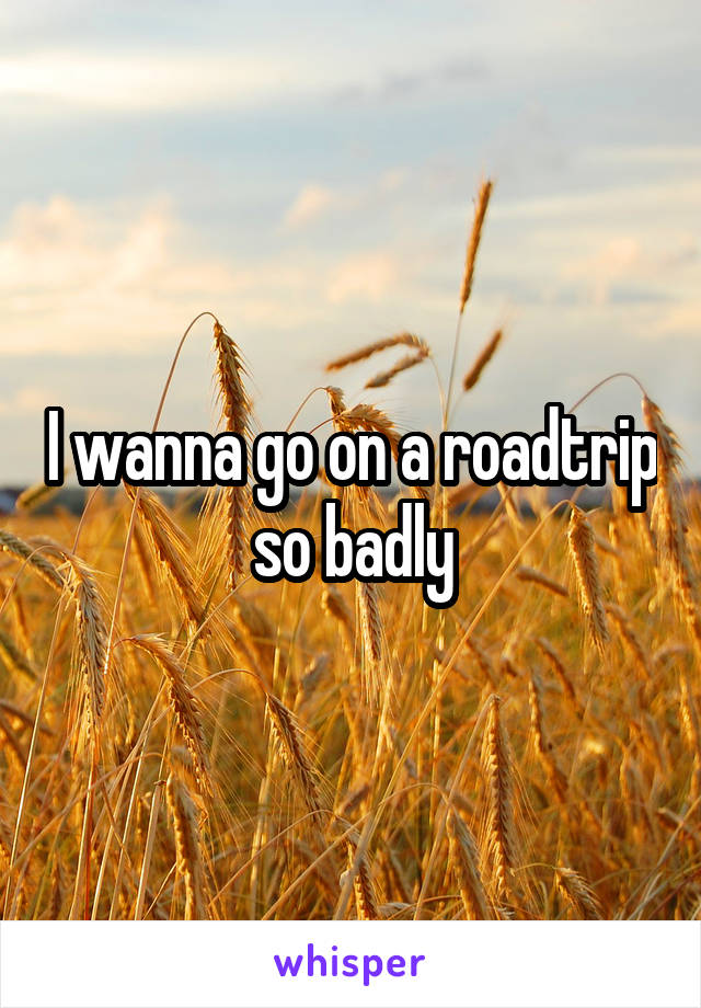 I wanna go on a roadtrip so badly