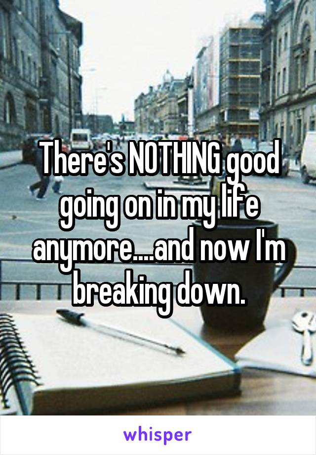 There's NOTHING good going on in my life anymore....and now I'm breaking down.