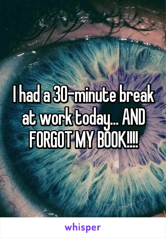 I had a 30-minute break at work today... AND FORGOT MY BOOK!!!!