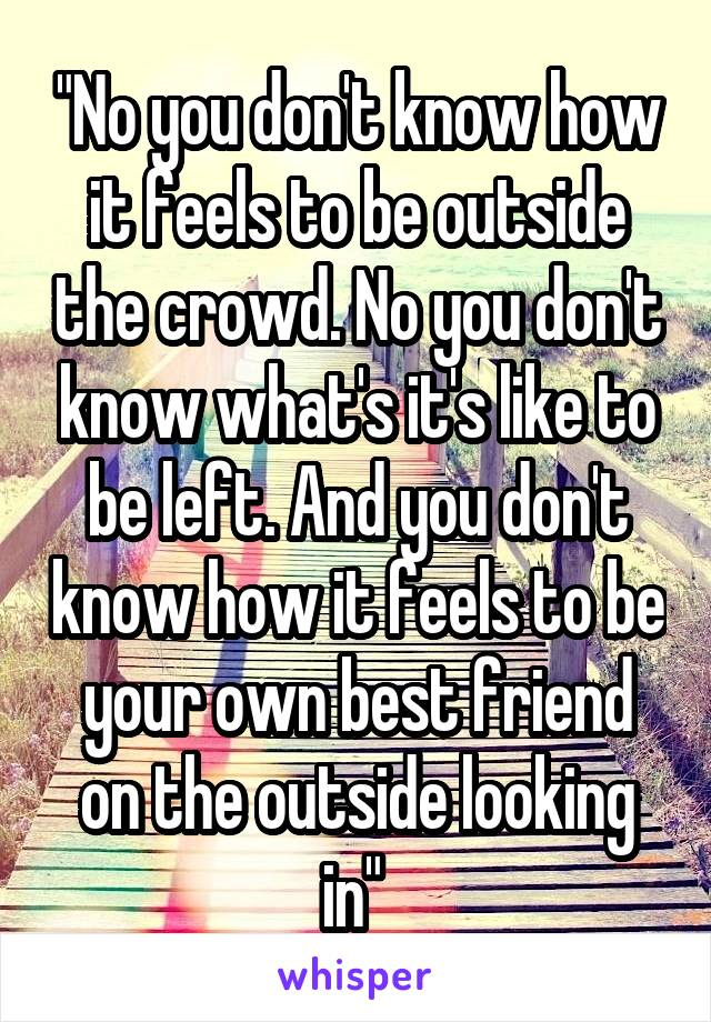 """""""No you don't know how it feels to be outside the crowd. No you don't know what's it's like to be left. And you don't know how it feels to be your own best friend on the outside looking in"""""""