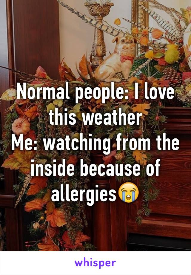 Normal people: I love this weather Me: watching from the inside because of allergies😭