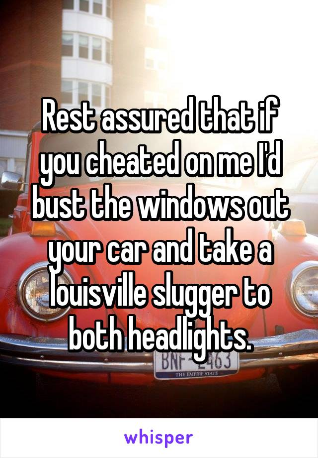 Rest assured that if you cheated on me I'd bust the windows out your car and take a louisville slugger to both headlights.