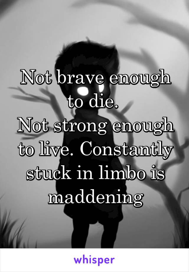 Not brave enough to die.  Not strong enough to live. Constantly stuck in limbo is maddening