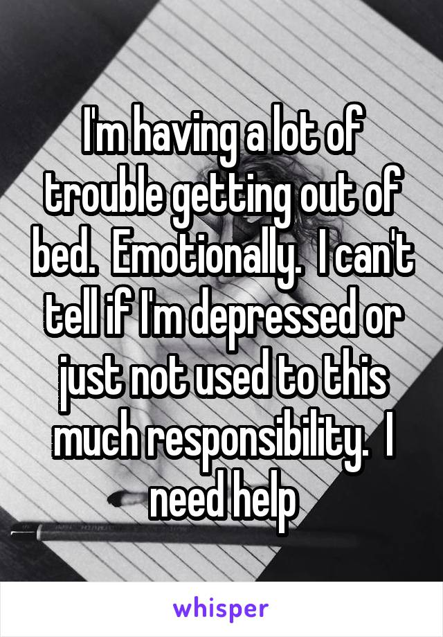 I'm having a lot of trouble getting out of bed.  Emotionally.  I can't tell if I'm depressed or just not used to this much responsibility.  I need help