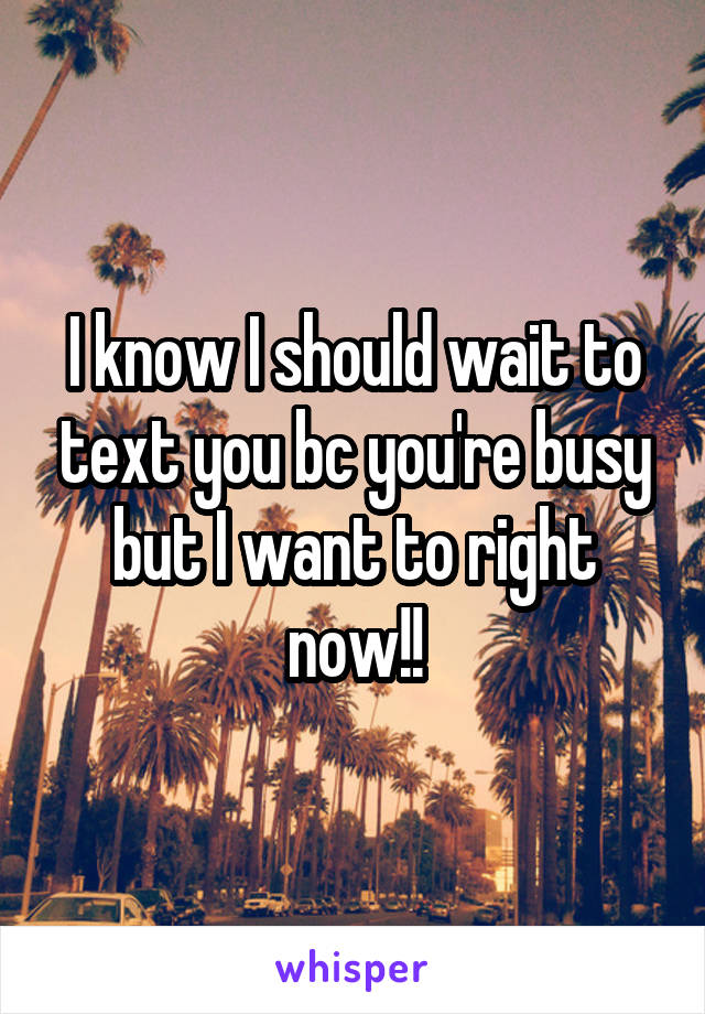 I know I should wait to text you bc you're busy but I want to right now!!