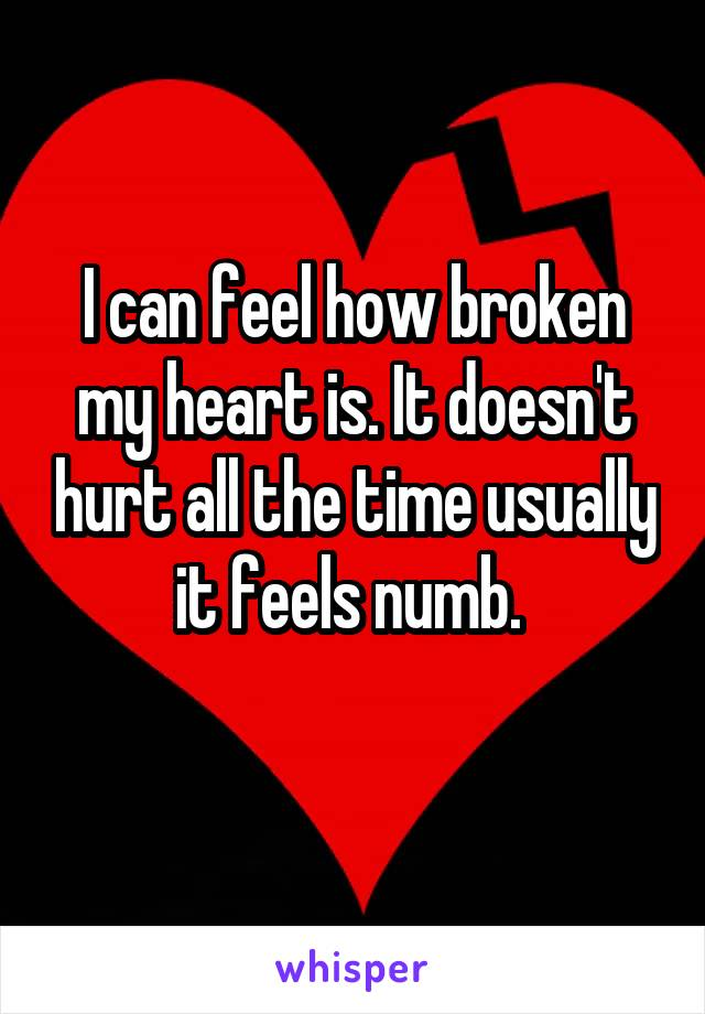 I can feel how broken my heart is. It doesn't hurt all the time usually it feels numb.