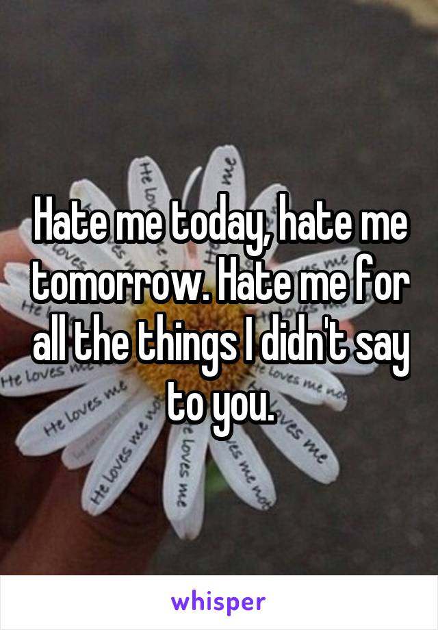 Hate me today, hate me tomorrow. Hate me for all the things I didn't say to you.