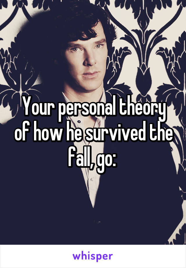 Your personal theory of how he survived the fall, go: