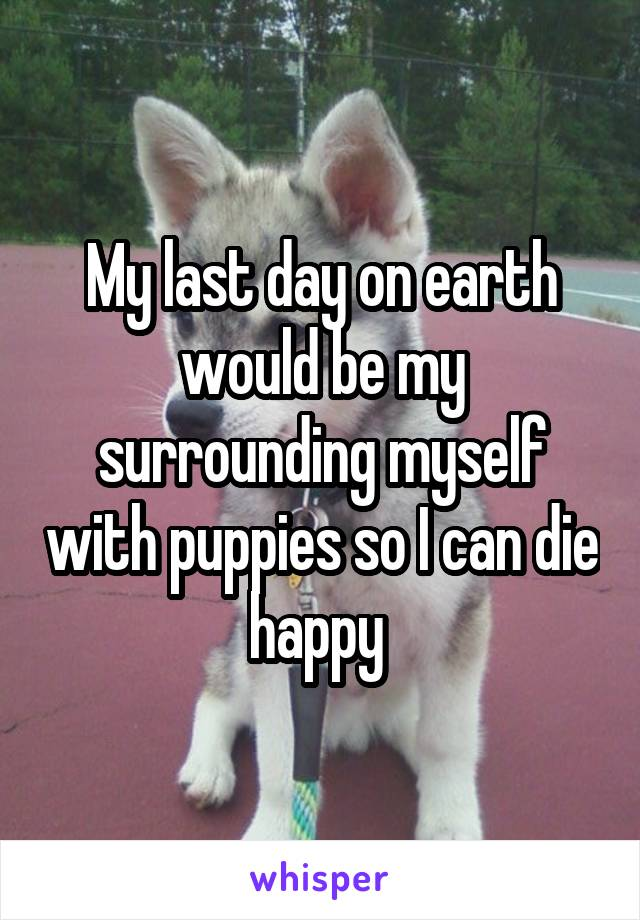 My last day on earth would be my surrounding myself with puppies so I can die happy