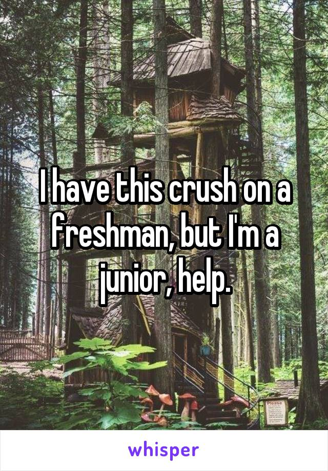 I have this crush on a freshman, but I'm a junior, help.